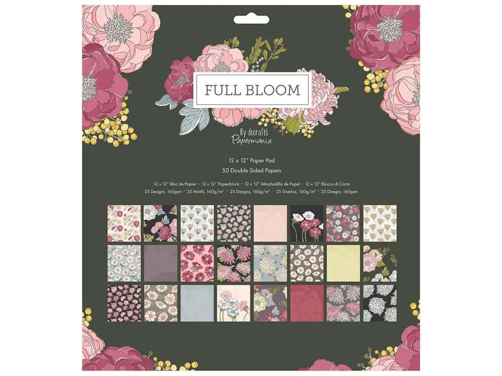 "Docrafts Papermania Paper Pad 12""x 12"" Full Bloom"