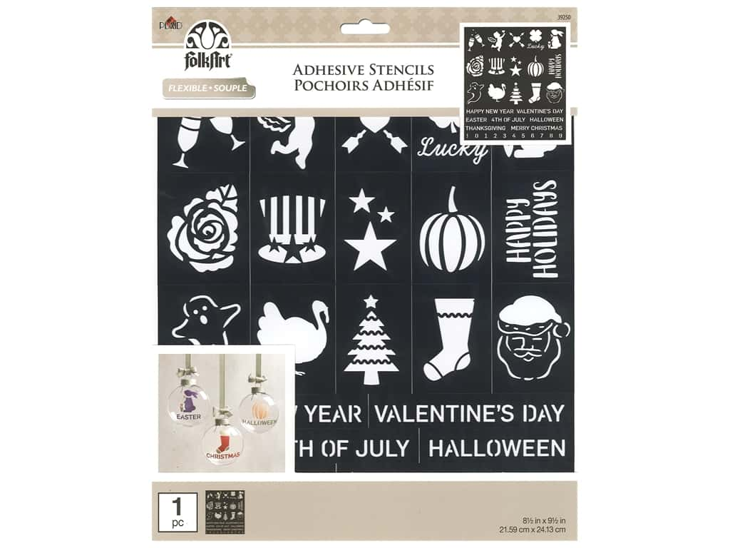 Plaid Stencil Folkart Adhesive 8.5 in. x 9.5 in. Holiday Fun