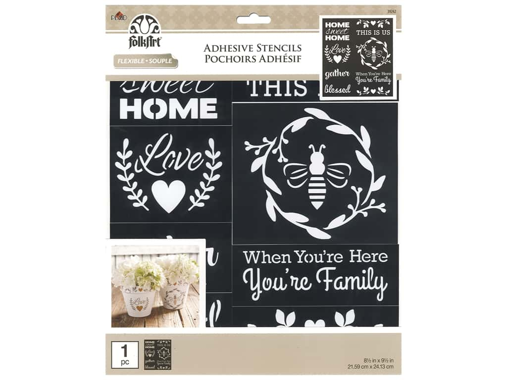 Plaid Stencil Folkart Adhesive 8.5 in. x 9.5 in. Farmhouse Family