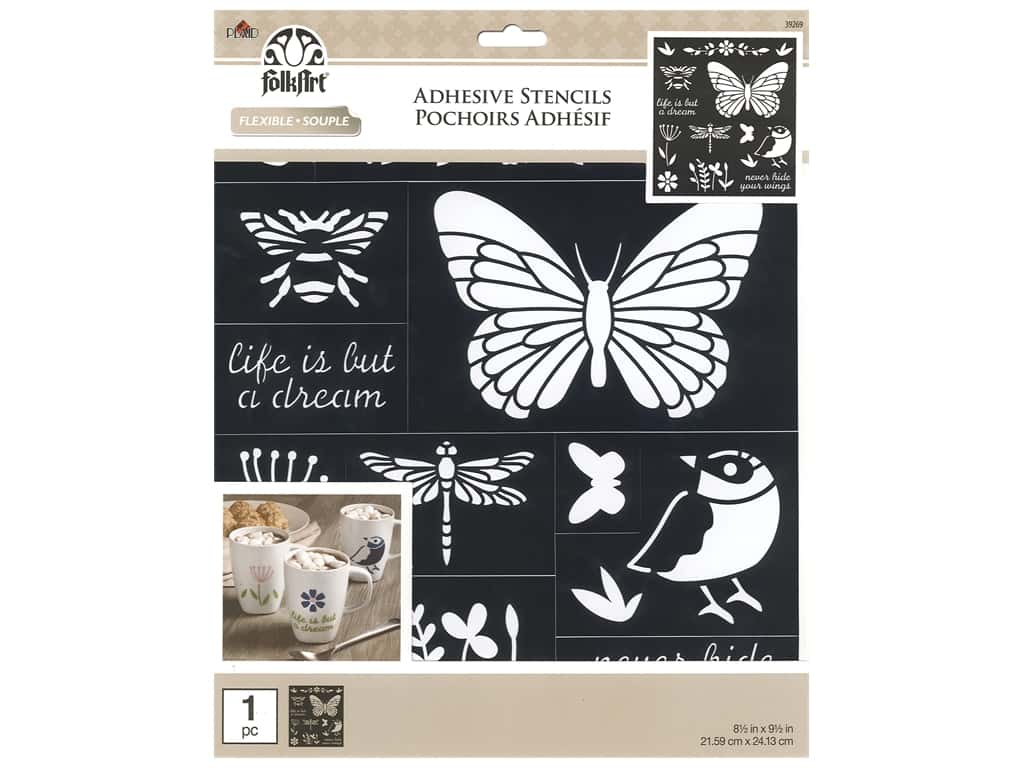 Plaid Stencil Folkart Adhesive 8.5 in. x 9.5 in. Birds, Bees & More