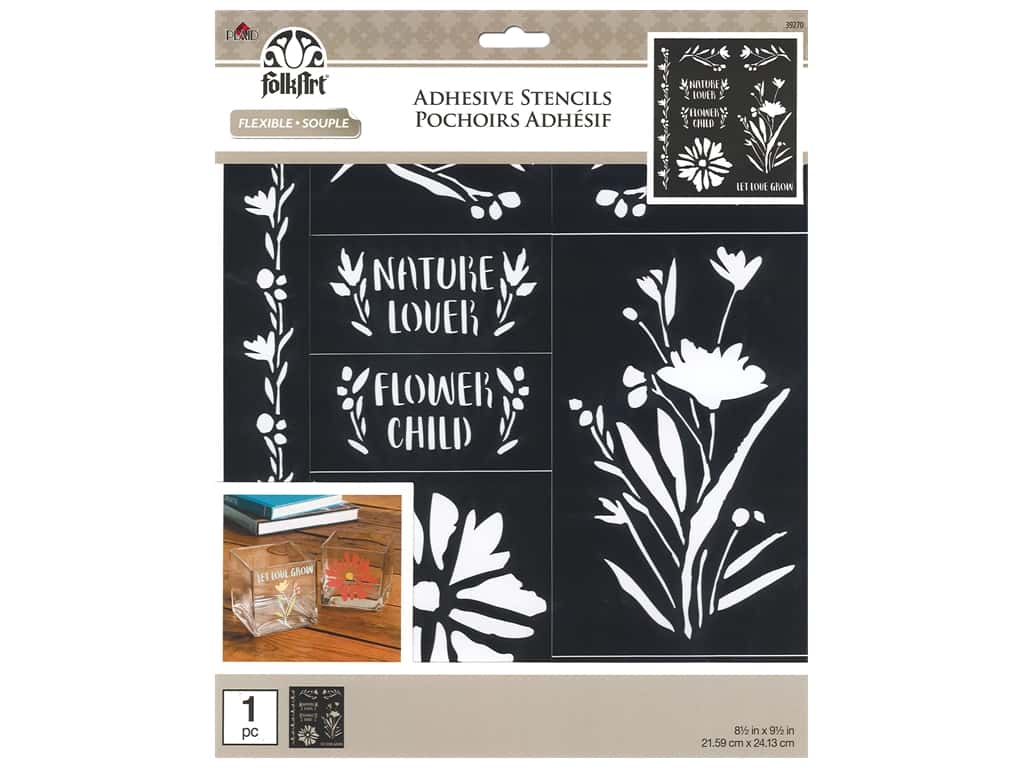 Plaid Stencil Folkart Adhesive 8.5 in. x 9.5 in. Floral Wildflowers