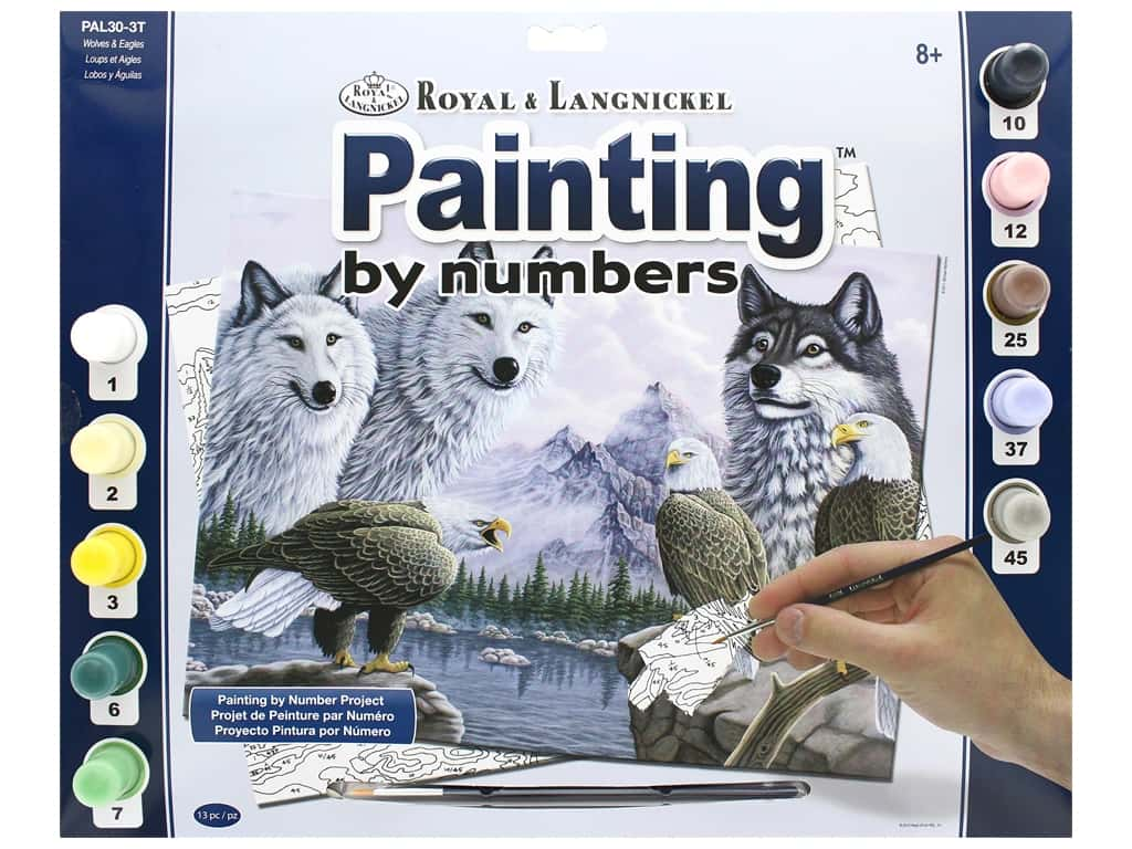 Royal Paint By Number Kit Large Wolves