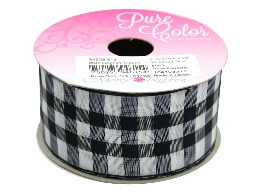 "Morex Ribbon Gingham 1.5""x 3yd Black"