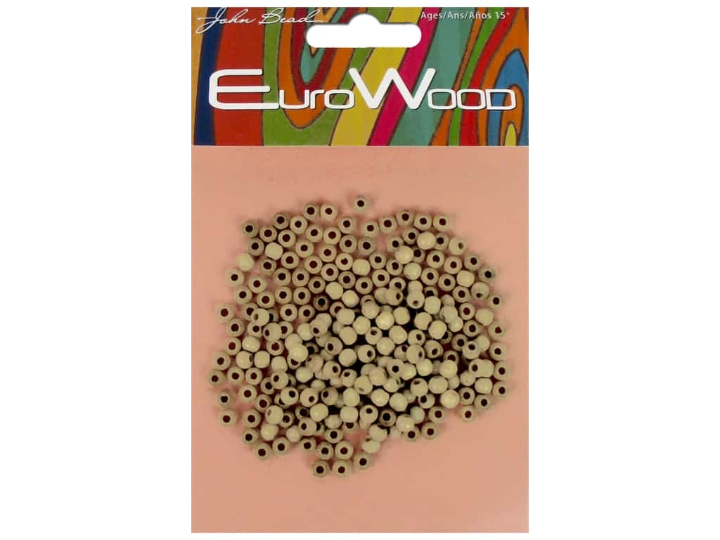 John Bead Wood Bead Round 4 mm Natural