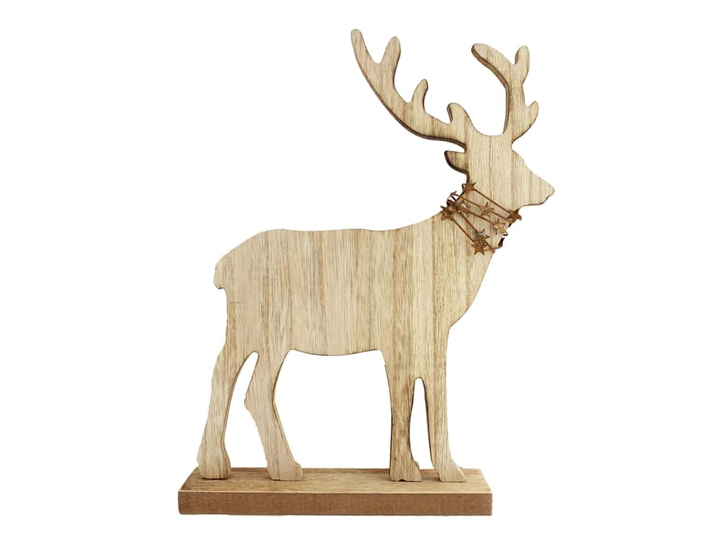 "Sierra Pacific Crafts Wood Tabletop Deer With Wire & Stars 8""x 10.25"""
