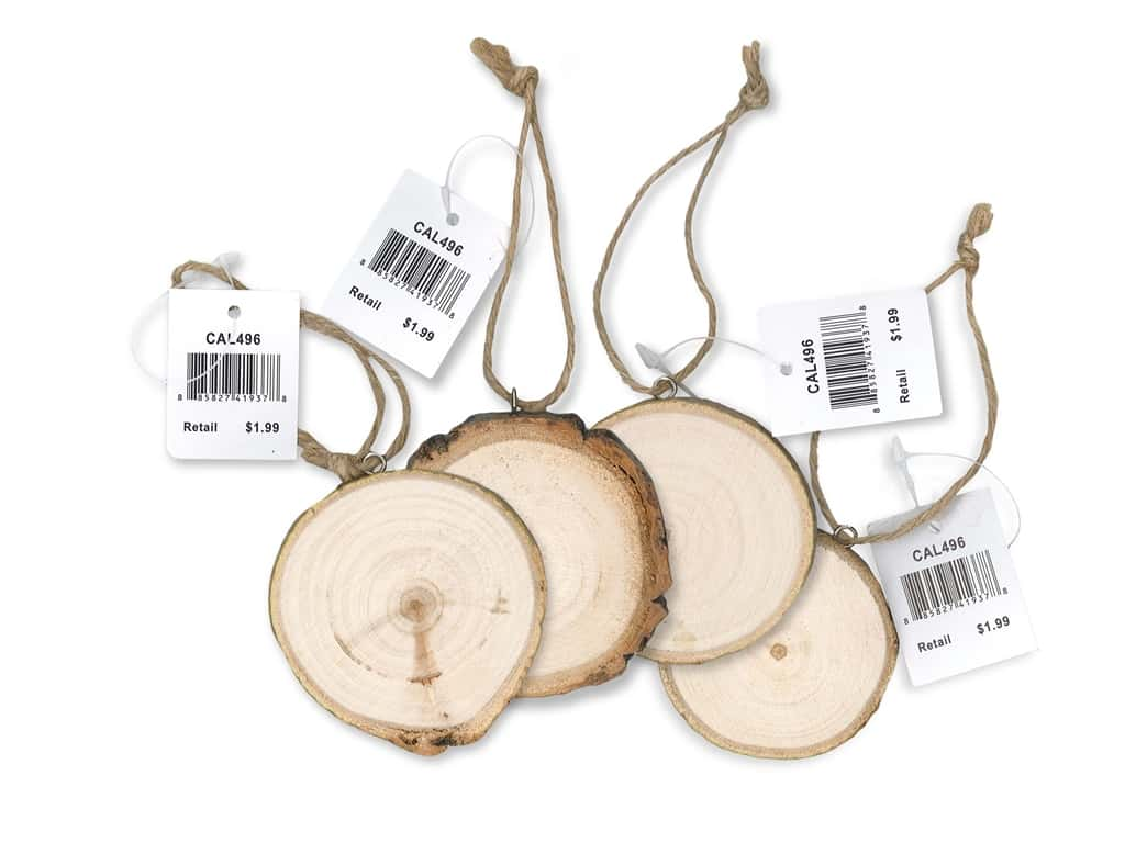 """Sierra Pacific Crafts Wood Disk Ornament 3"""" Unfinished (3 pieces)"""