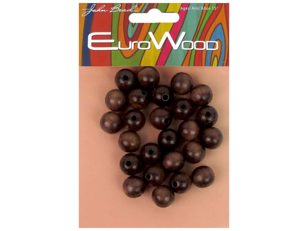 John Bead Wood Bead Round 12mm Dark Brown