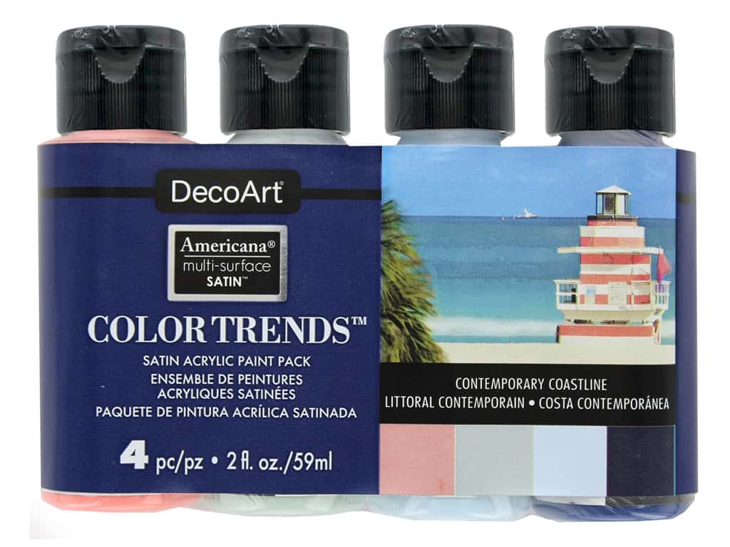 DecoArt Americana Multi Surface Acrylic Paint Satin Contemporary Coastline 4 pc