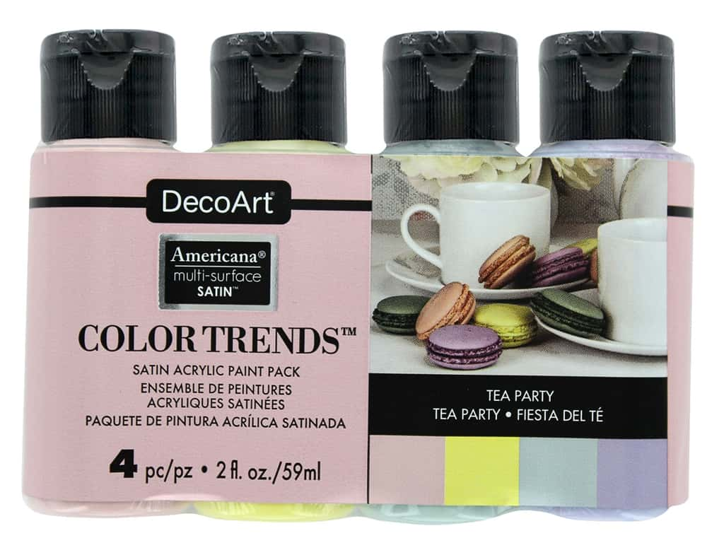 DecoArt Americana Multi Surface Acrylic Paint Satin Tea Party 4 pc