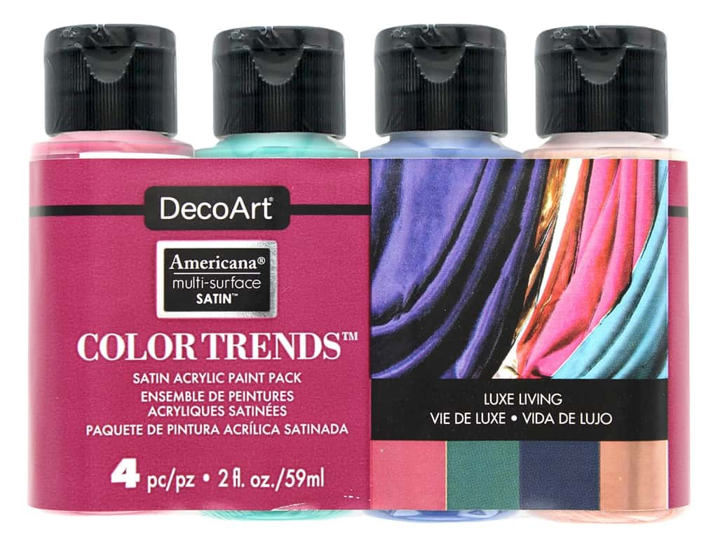 DecoArt Americana Multi Surface Acrylic Paint Satin Luxe Living 4 pc