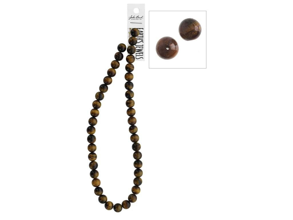 John Bead Semi-Precious 16 in. 10 mm Round Tiger Eye Natural