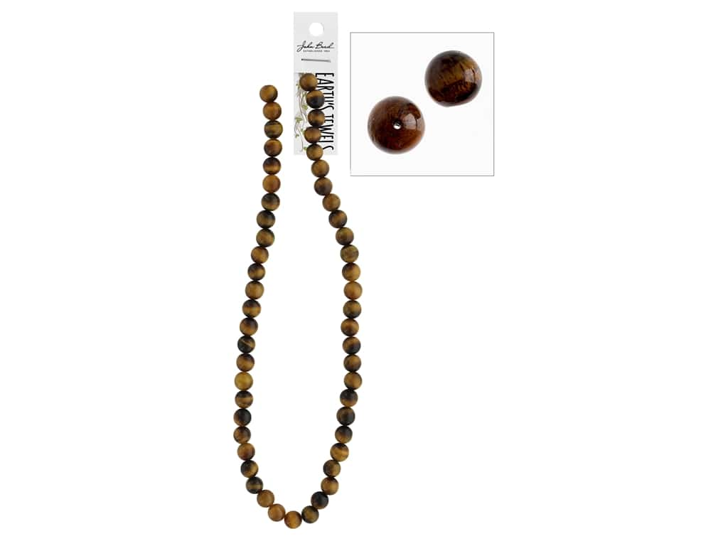 John Bead Semi-Precious 16 in. 8 mm Round Tiger Eye Natural