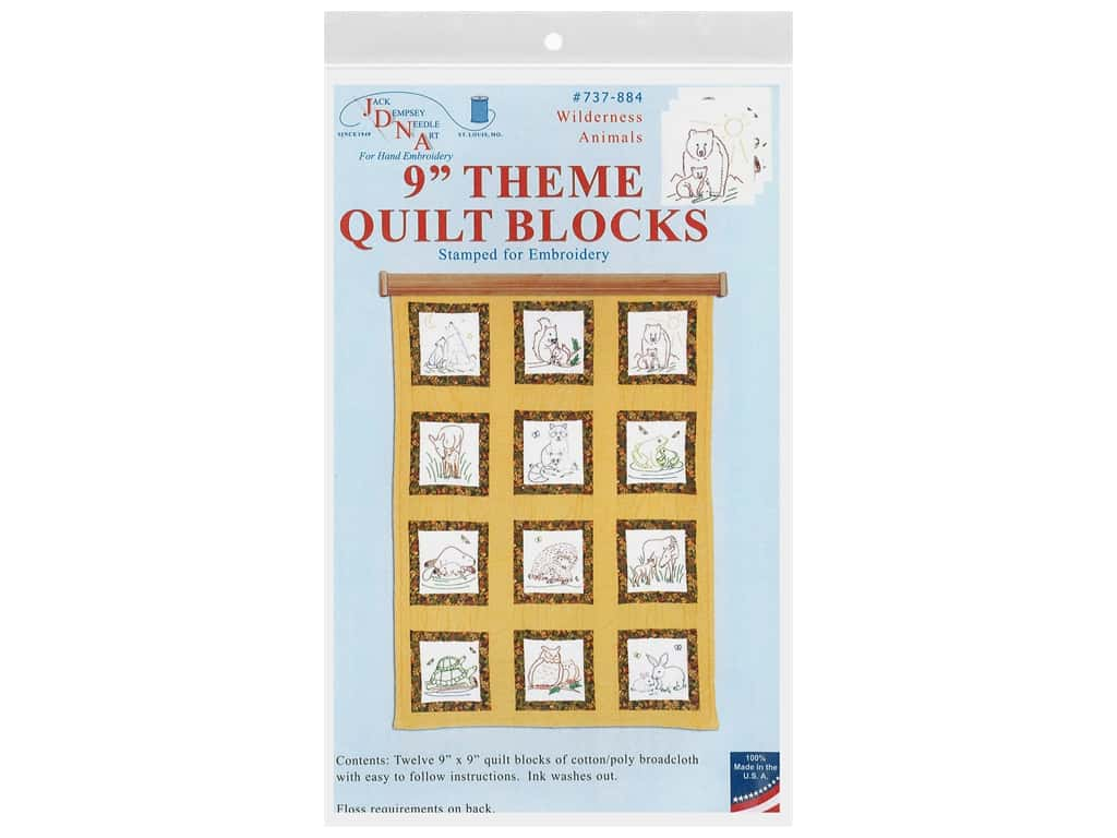 Jack Dempsey 9 in. Theme Quilt Blocks Wilderness Animals