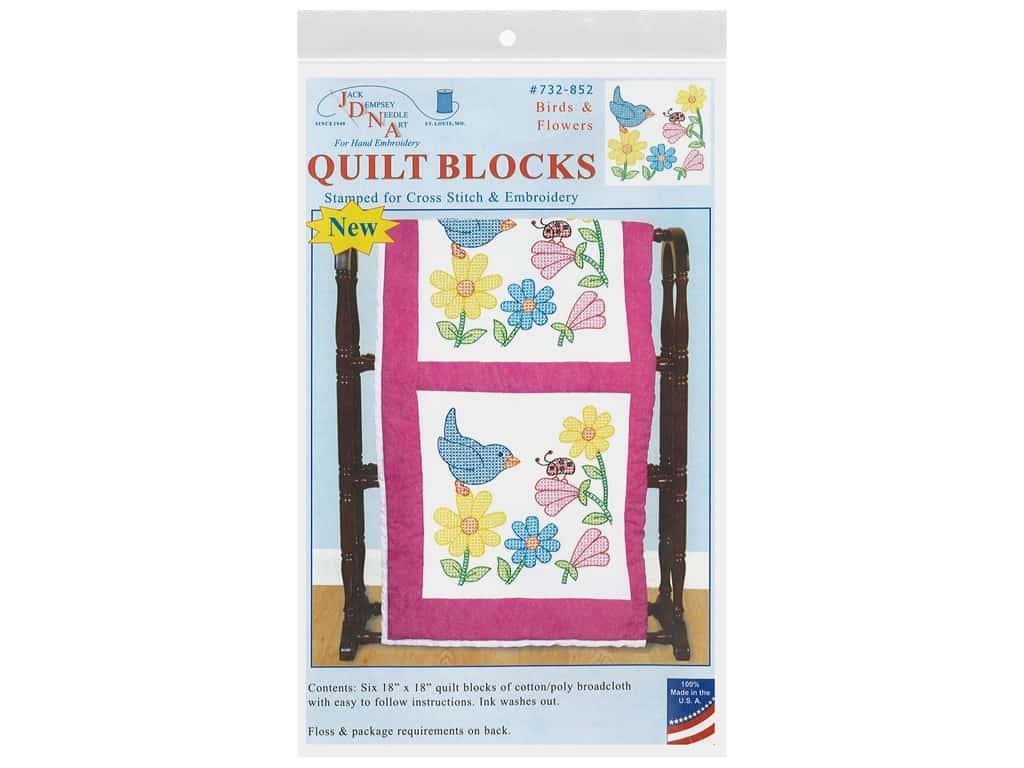 Jack Dempsey Quilt Block 18 in. White Birds & Flowers 6 pc