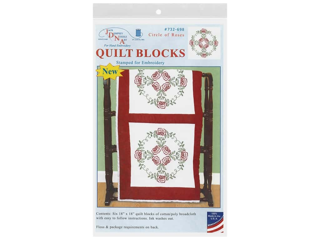 Jack Dempsey Quilt Block 18 in. White Circle Of Roses 6 pc