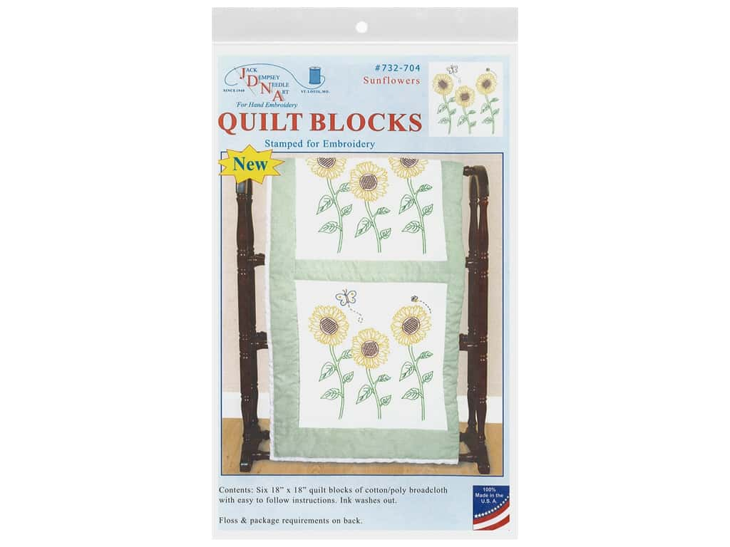 Jack Dempsey Quilt Block 18 in. White Sunflowers 6 pc
