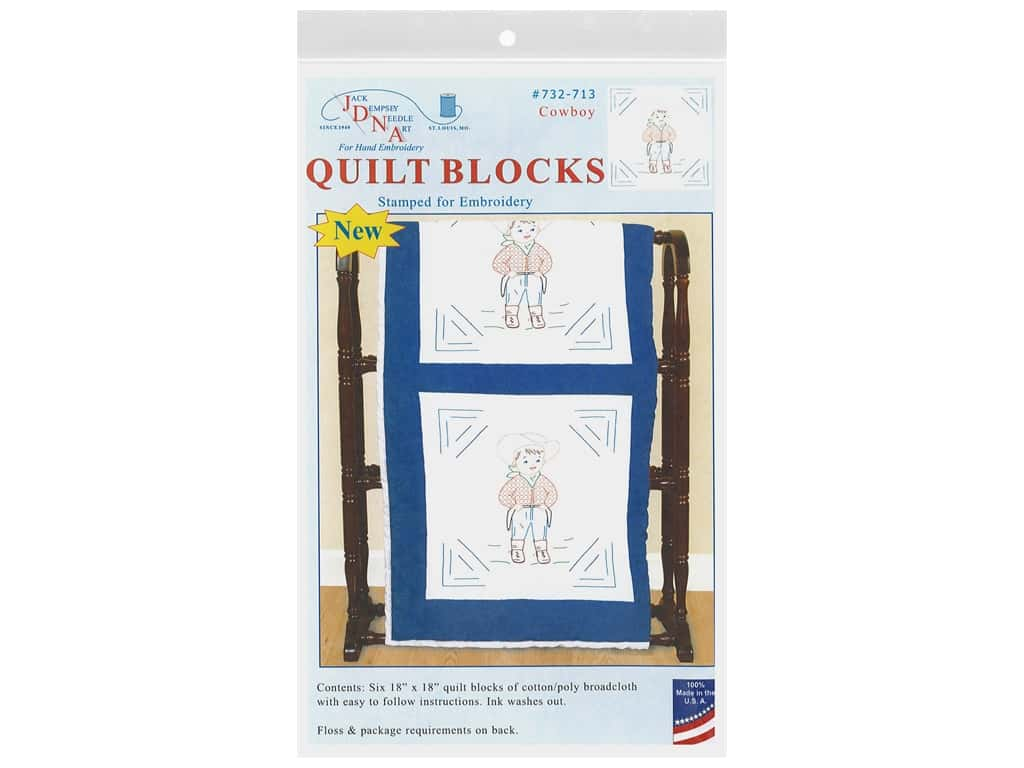 Jack Dempsey Quilt Block 18 in. White Cowboy 6 pc