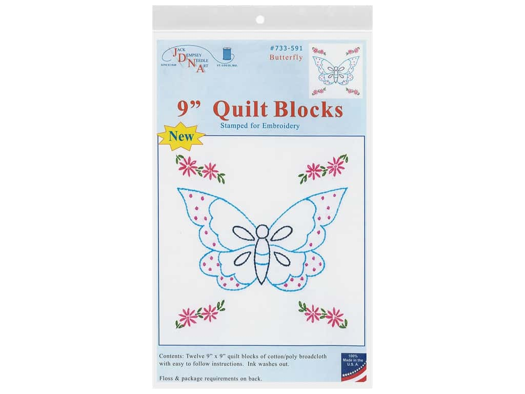 Jack Dempsey 9 in. Quilt Blocks Butterfly 12 pc