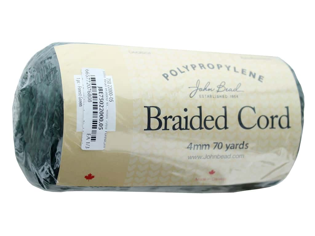 John Bead Braided Macrame Cord 4 mm 70 yd Forest Green