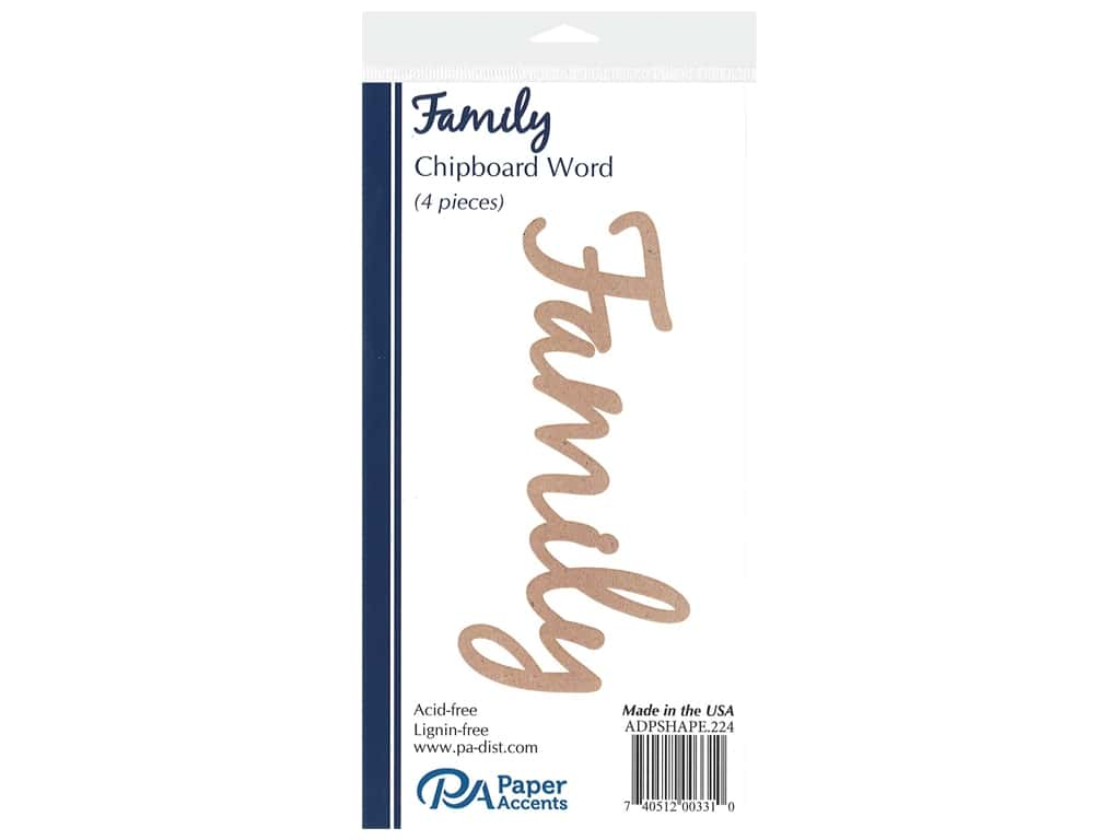 Paper Accents Chipboard Word 4 pc. Family Natural