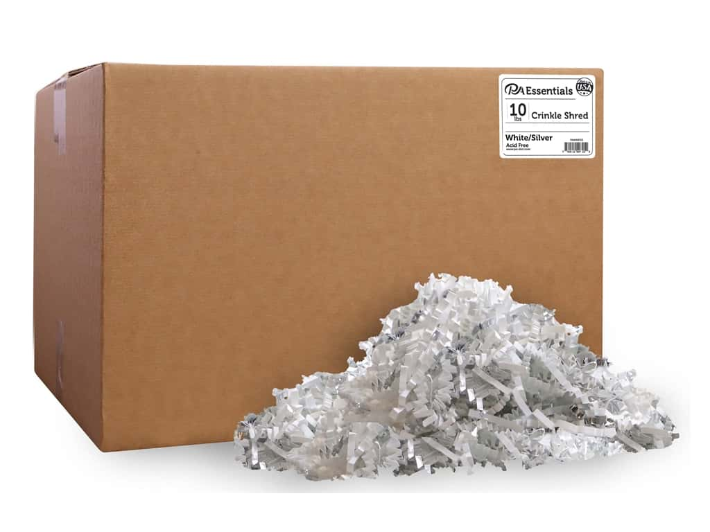 PA Essentials Crinkle Shred 10 lb. White/Silver