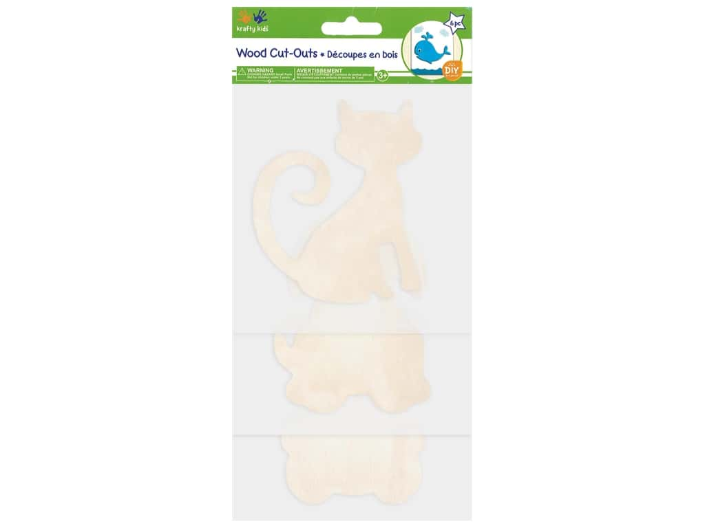 Multicraft Wood Cut Out Fluffy Friends 6 pc
