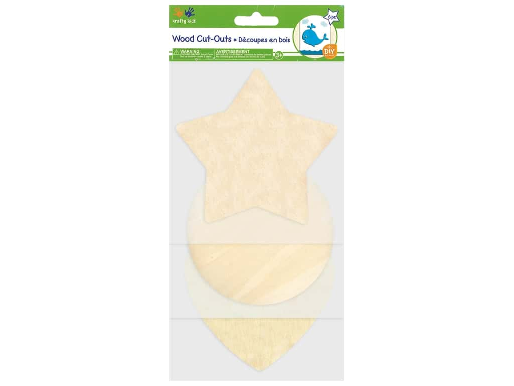 Multicraft Wood Cut Out Classic Shapes 6 pc