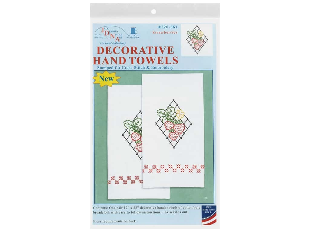 Jack Dempsey Decorative Hand Towel Strawberries 2 pc