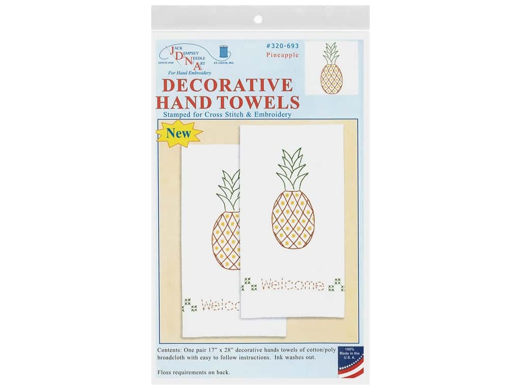 Jack Dempsey Decorative Hand Towel Pineapple 2 pc