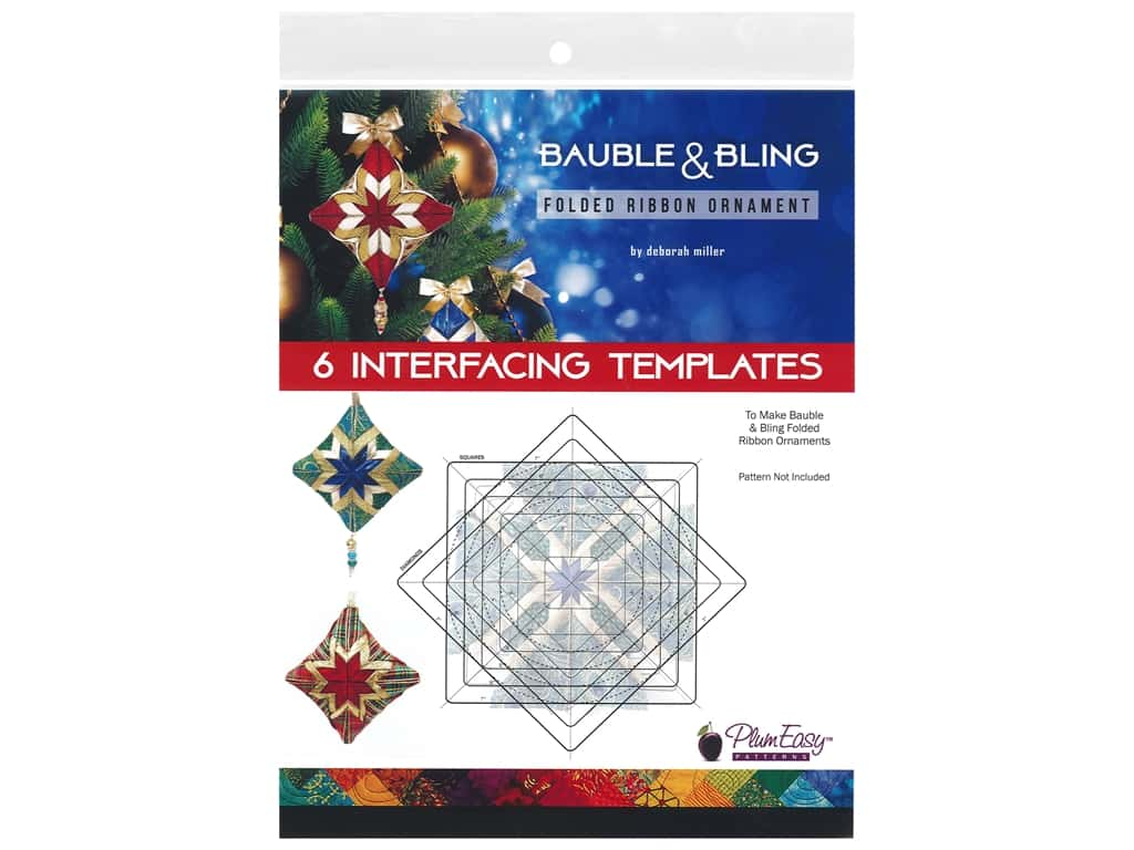PlumEasy Patterns Interfacing Templates Bauble & Bling Folded Ribbon Ornament 6 pc