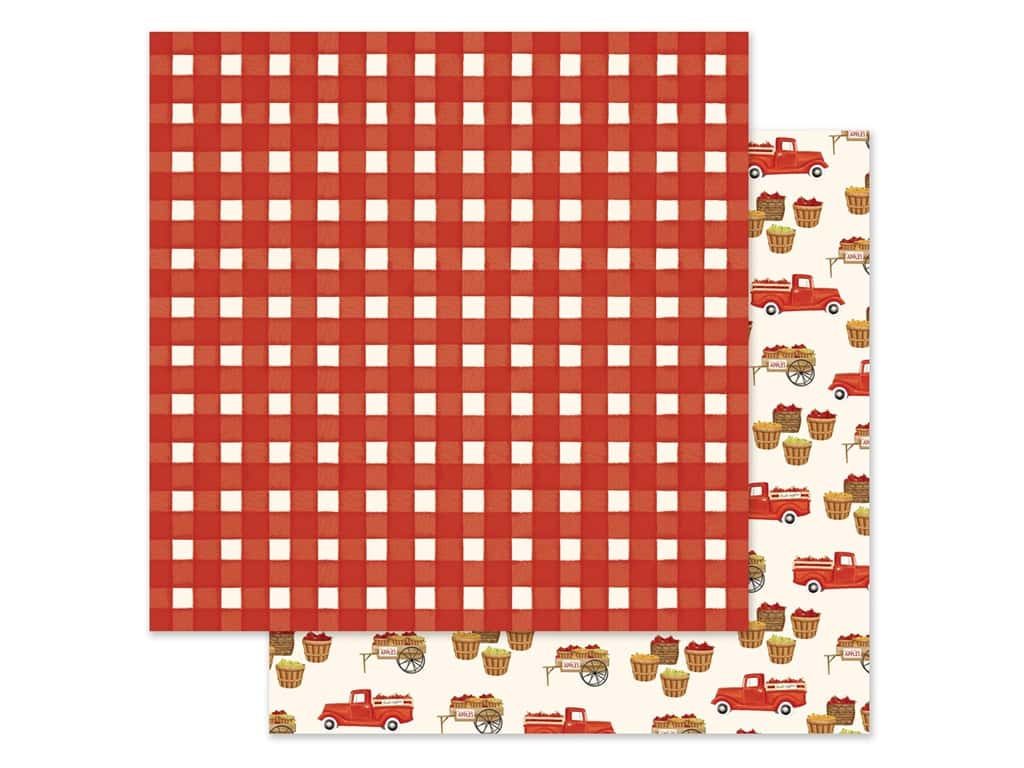 """Carta Bella Collection Fall Market Paper 12""""x 12"""" Red Gingham (25 pieces)"""
