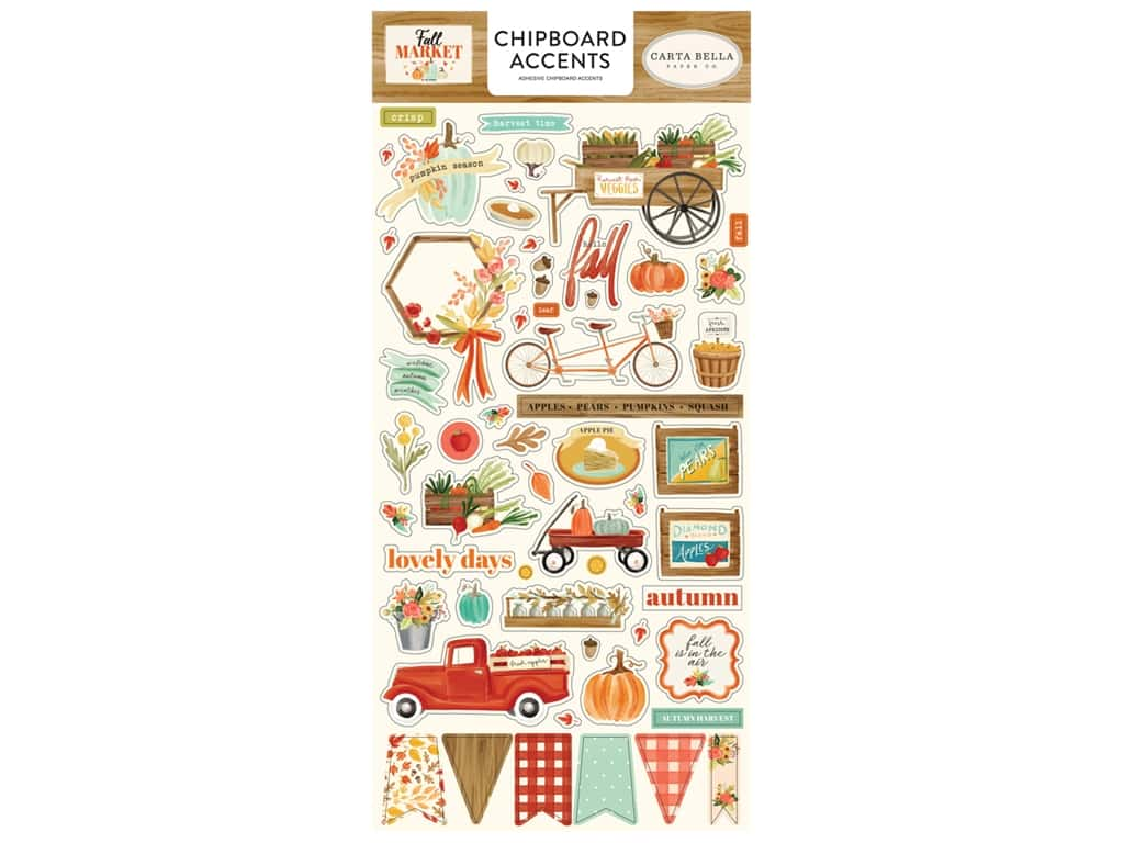 """Carta Bella Collection Fall Market Chipboard 6""""x 12"""" Accents"""