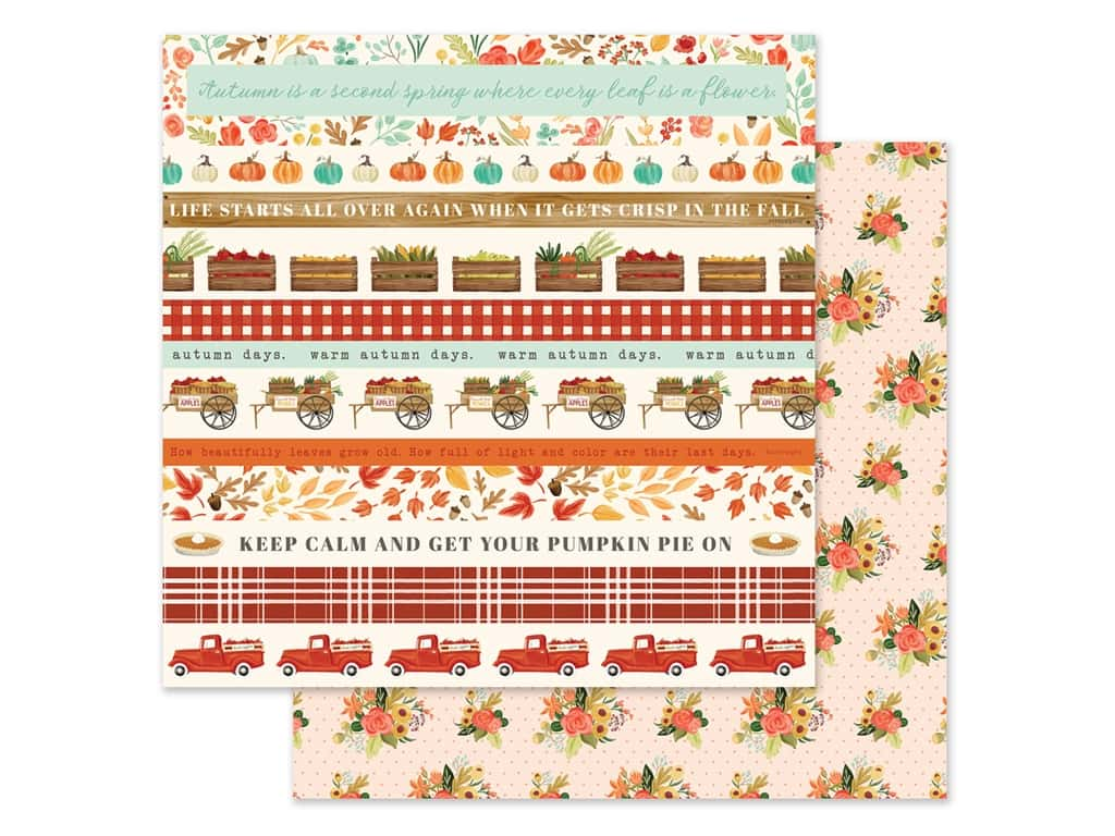 "Carta Bella Collection Fall Market Paper 12""x 12"" Border Strips (25 pieces)"