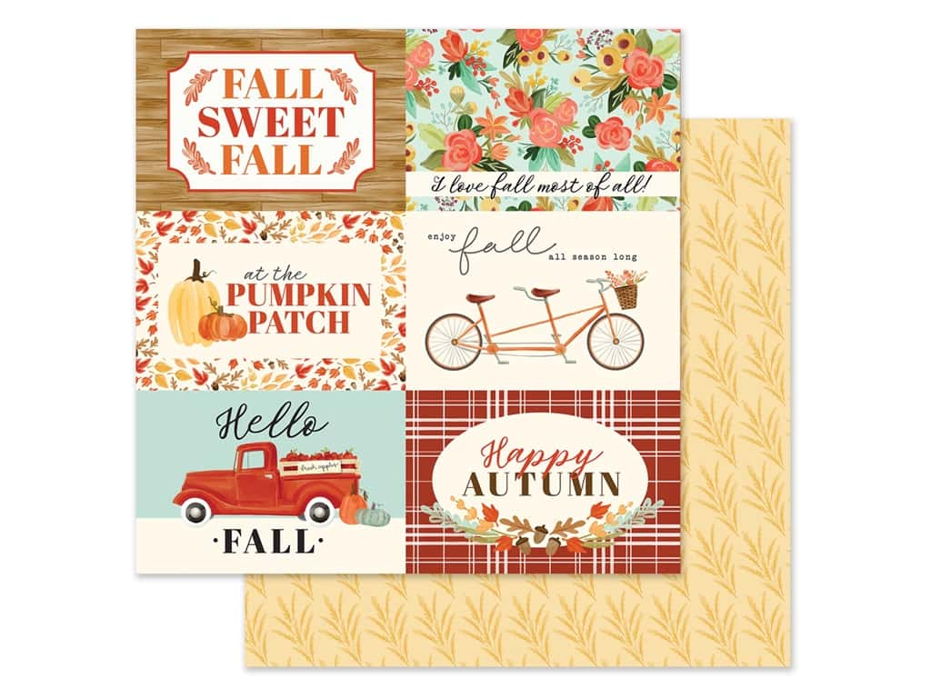"Carta Bella Collection Fall Market Paper 12""x 12"" Journaling Card 4""x 6"" (25 pieces)"