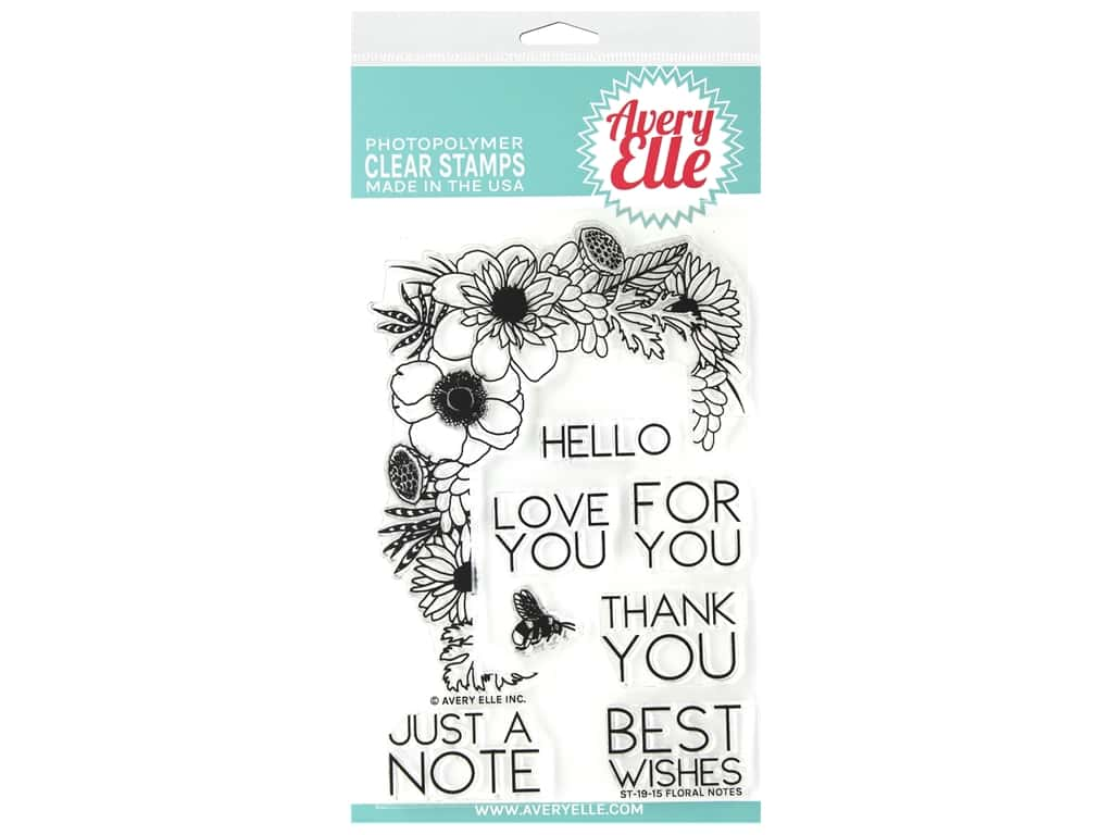 Avery Elle Clear Stamp Floral Notes