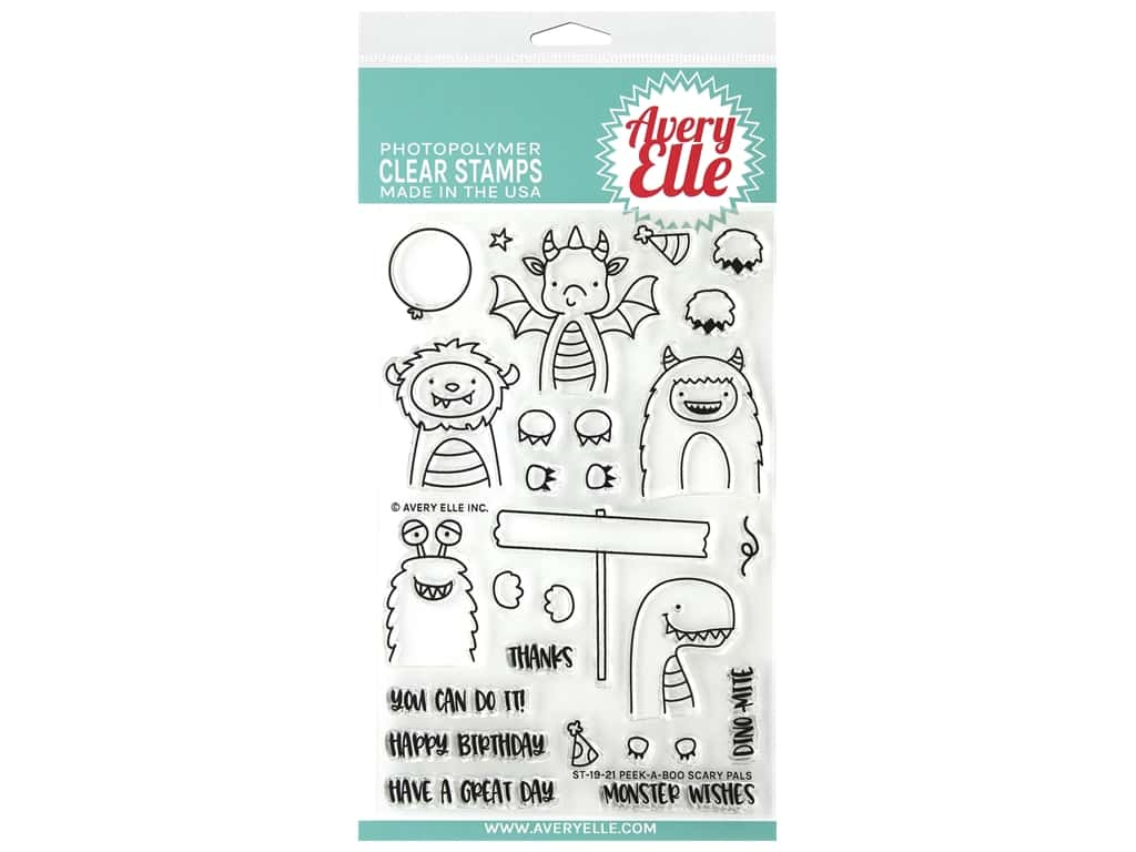 Avery Elle Clear Stamp Peek-A-Boo Scary Pals