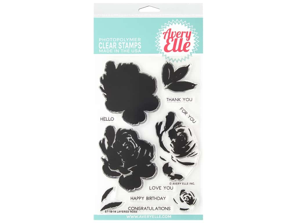 Avery Elle Clear Stamp Layered Rose