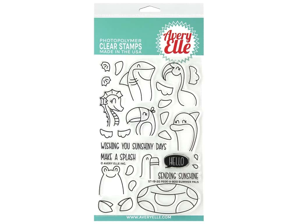 Avery Elle Clear Stamp Peek A Boo Summer Pals