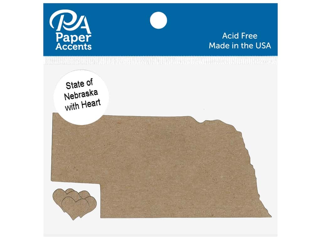 Paper Accents Chip Shape State of Nebraska With Heart Natural 4 pc