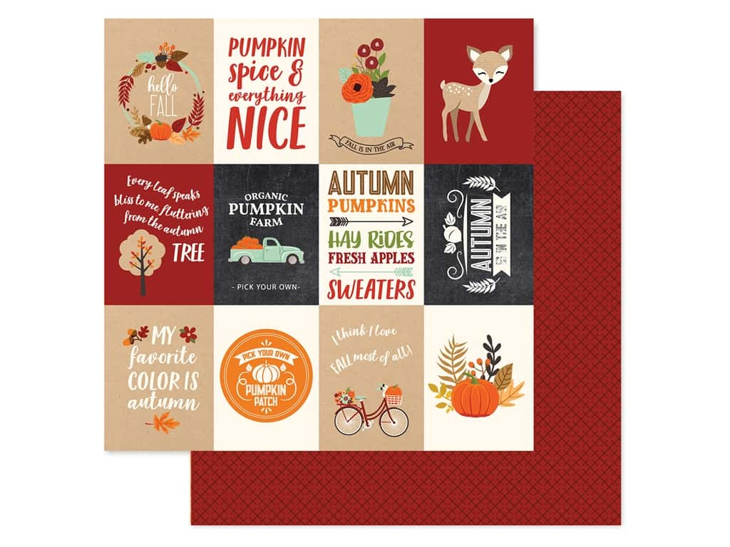 """Echo Park Collection My Favorite Fall Paper 12""""x 12"""" Journaling Card 3""""x 4"""" (25 pieces)"""