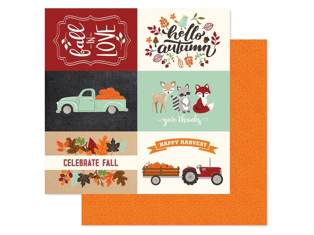 "Echo Park Collection My Favorite Fall Paper 12""x 12"" Journaling Cards 4""x 6"" Horizontal (25 pieces)"