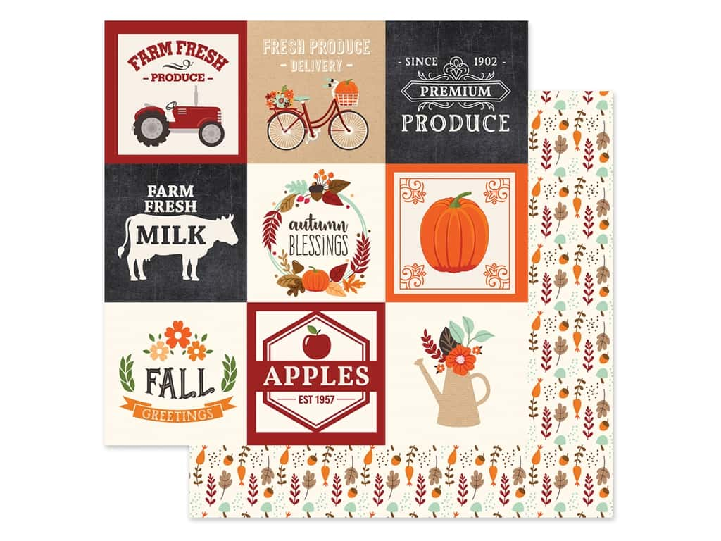 """Echo Park Collection My Favorite Fall Paper 12""""x 12"""" Journaling Card 4""""x 4"""" (25 pieces)"""