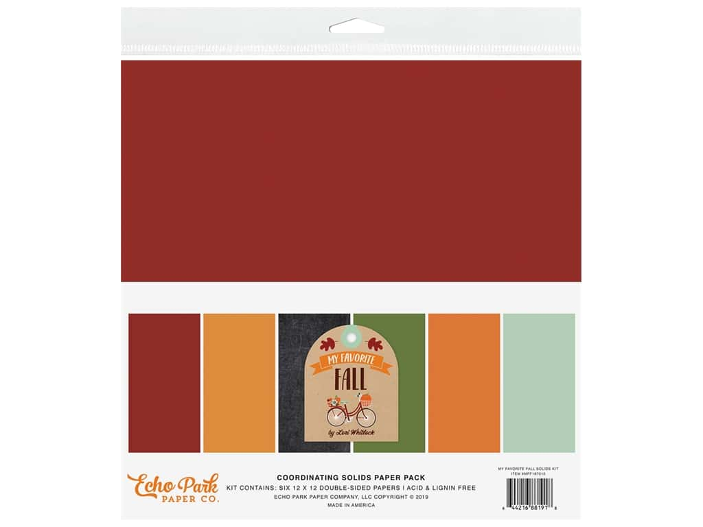 "Echo Park Collection My Favorite Fall Solid Kit 12""x 12"""
