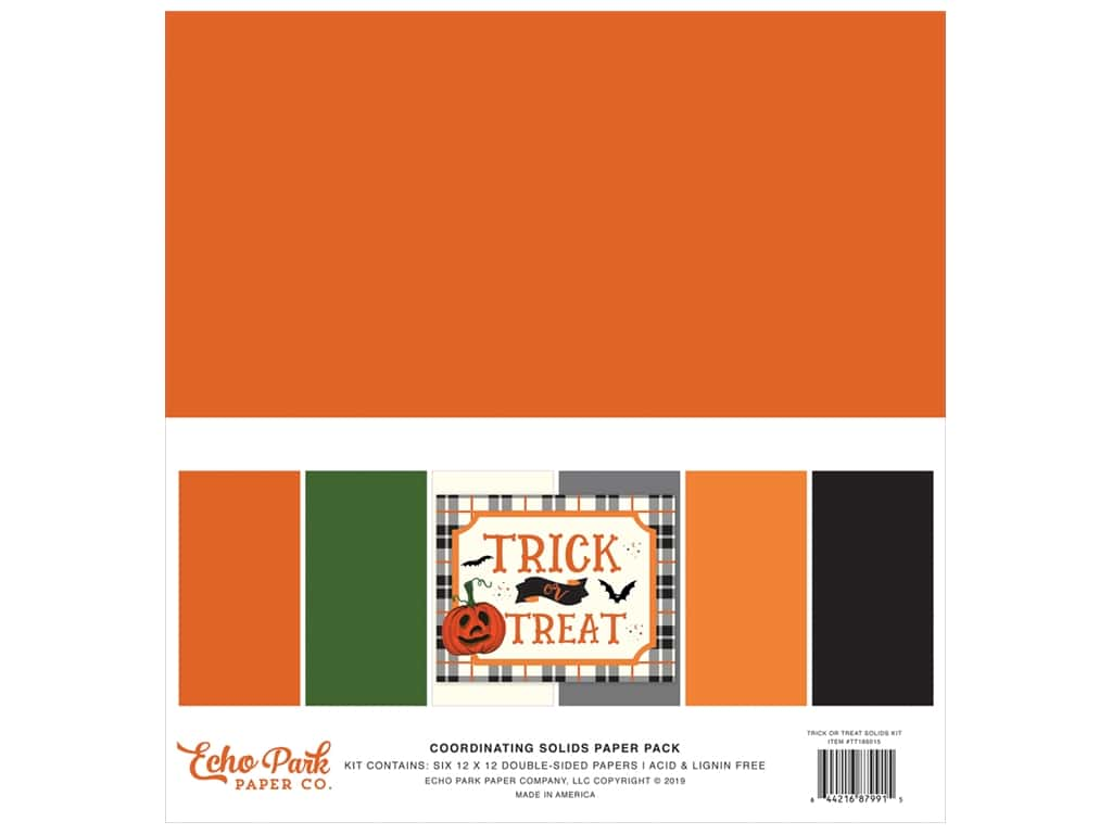 "Echo Park Collection Trick Or Treat Solids Kit 12""x 12"""