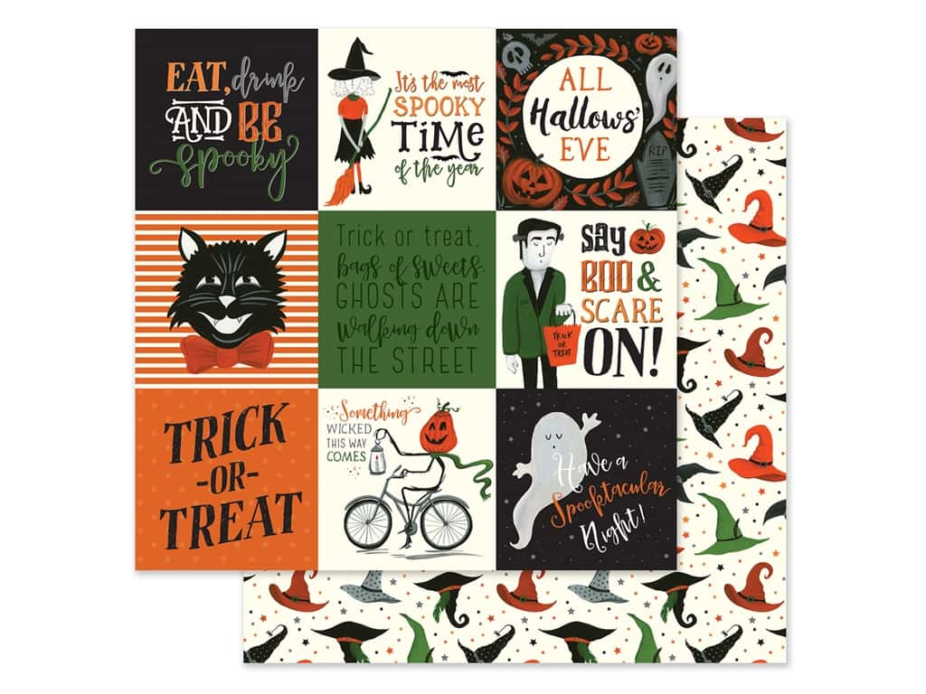 """Echo Park Collection Trick Or Treat Paper 12""""x 12"""" Journaling Cards 4""""x 4"""" (25 pieces)"""