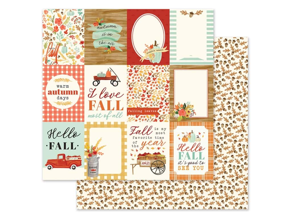 """Carta Bella Collection Fall Market Paper 12""""x 12"""" Journaling Card 3""""x 4"""" (25 pieces)"""