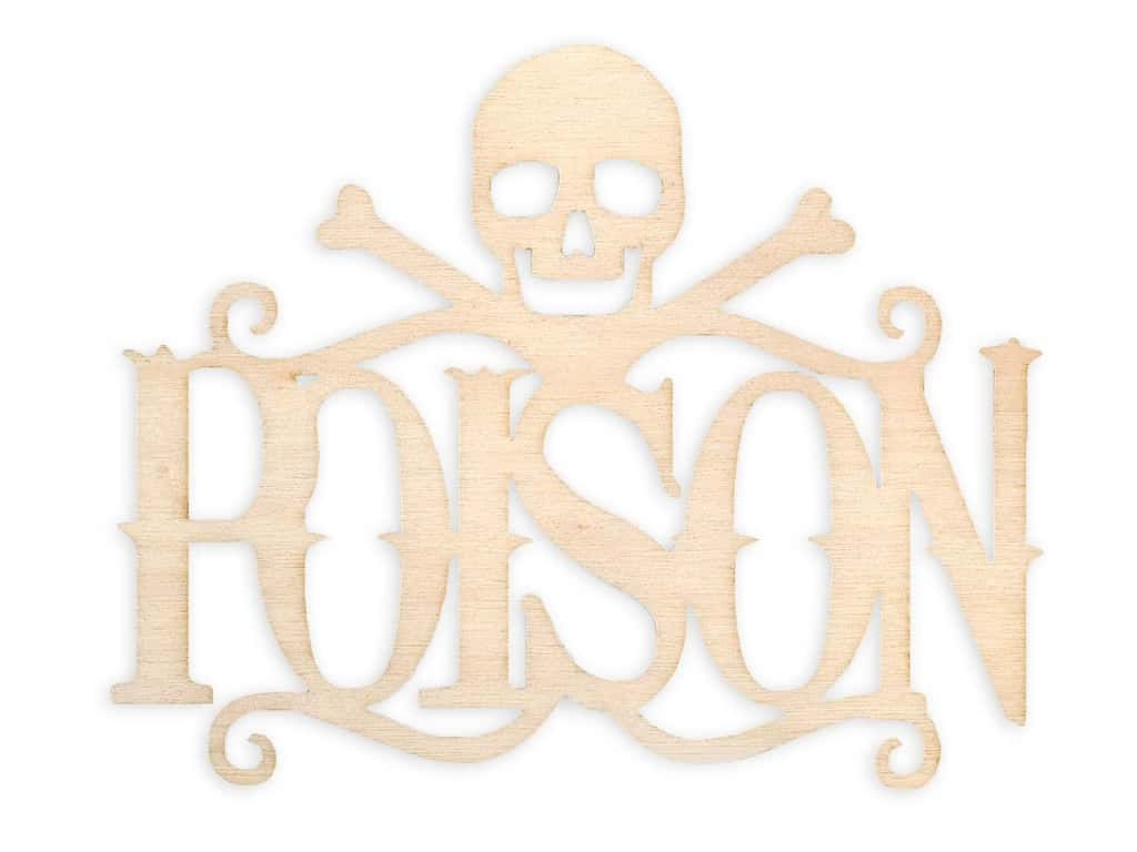 Darice Wood Cut Out Word Poison Unfinished