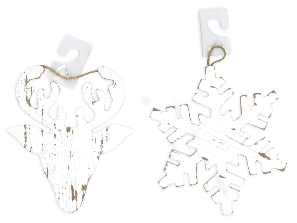 Darice Wood Christmas Ornament Snowflake/Deer White Wash Assorted (2 pieces)