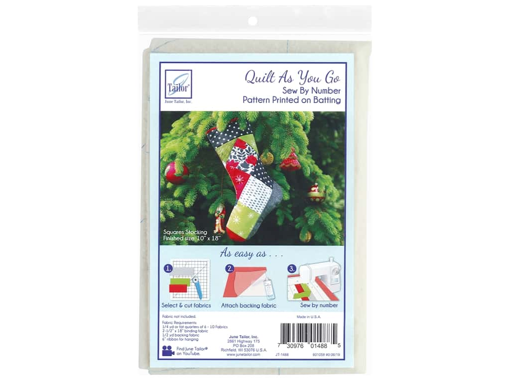 June Tailor Batting Quilt As You Go Cotton/Polyester Squares Stocking