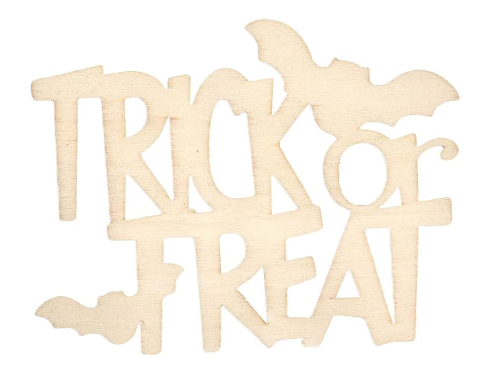 Darice Wood Cut Out Word Trick Or Treat Unfinished